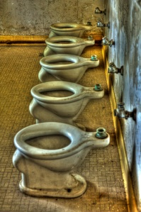 Toilets in Preston Castle dormitory.