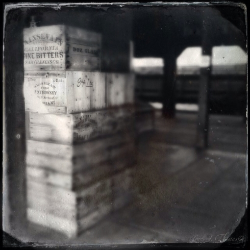 A stack of freight sits near the Central Pacific Freight and Passenger Stations in Old Sacramento.  The station was reconstructed on the site of the original which was built in the mid-1860's.  ©Tracy J. Thomas, 2012. All rights reserved.