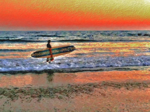 """A Surfer's Sunset"" - ©Tracy J. Thomas, 2012. All rights reserved."