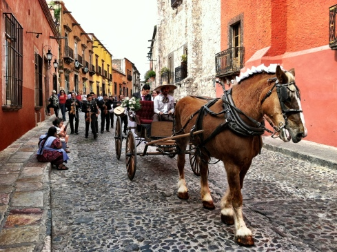 The bride and groom of a traditional wedding leave the Parroquia in a horse-drawn carriage followed by a mariachi band. - ©Tracy J. Thomas, 2012. All rights reserved.