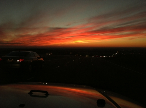The sky was on fire on the way home.  A dramatic ending to a perfect day.  ©Tracy J. Thomas, 2012. All rights reserved.