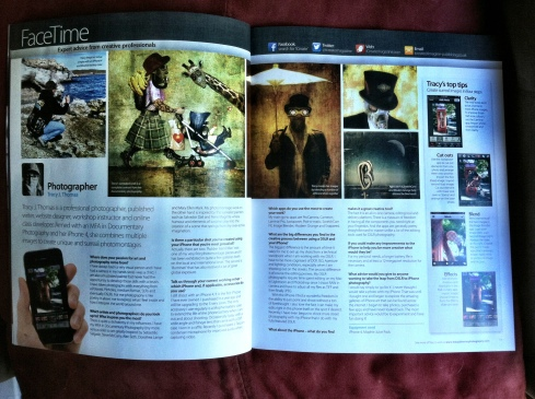 The two page spread with interview, a few of my photos and some tips & fave apps.