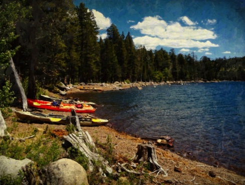 Several of the free-for-use kayaks line the shore of Independence Lake.