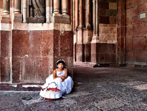 """La Niña de las Flores"" - La Parroquia, San Miguel de Allende, Mexico. ©Tracy J. Thomas, 2013. All rights reserved."