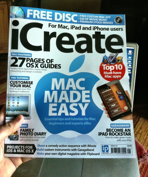 The June issue of iCreate Magazine with a feature on my and my iPhoneography.