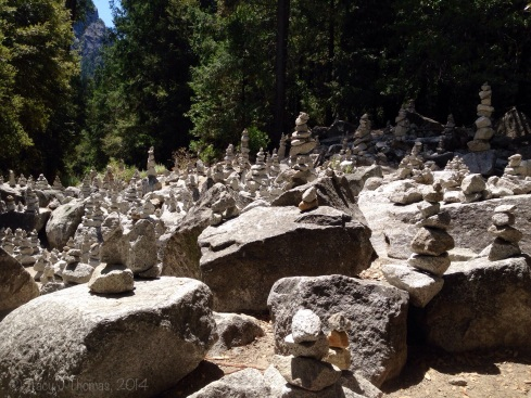 A multitude of rock cairns below Half Dome near Mirror Lake. Yosemite National Park. ©Tracy J Thomas, 2014. All rights reserved.