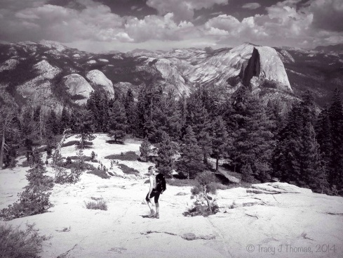 Hiking down from the top of Sentinel Dome with Half Dome as the backdrop. Yosemite National Park. ©Tracy J Thomas, 2014. All rights reserved.
